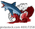 Shark with open mouth in the sea. Flat  illustration 46917258