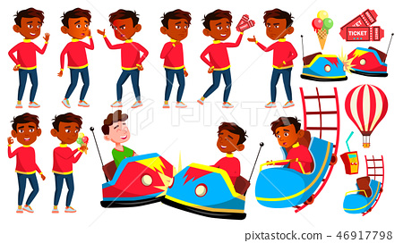 Indian Boy Poses Set Vector. Amusement Park. Drive, Fun. Young People. Summer Vacation. For 46917798