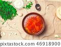 traditional Ukrainian borsch, red beet soup 46918900