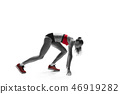 Portrait of young sporty woman at starting block of race isolated over white background 46919282