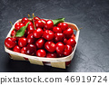 fresh ripe red cherry in a basket 46919724