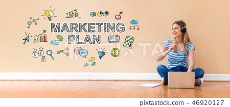 Marketing plan with woman using a laptop computer 46920127