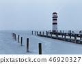 Lighthouse at sunrise with fog and rain 46920327