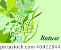 Background of stylized green leaves for greeting cards. 46922844