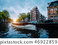 Sunset scene in Amsterdam city. Great Tourist boat on the famous Dutch canal floating tilted houses 46922859