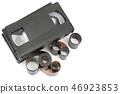 set of video tapes and photographic film isolated 46923853