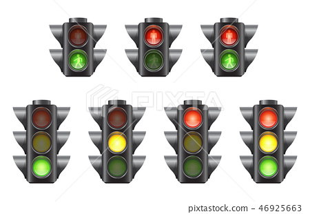 Set of realistic traffic lights for cars and pedestrians 46925663