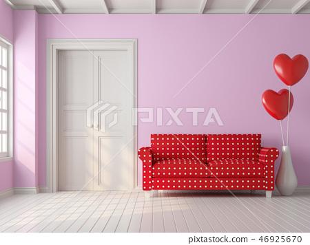 Valentine concept vintage living room 3d render 46925670