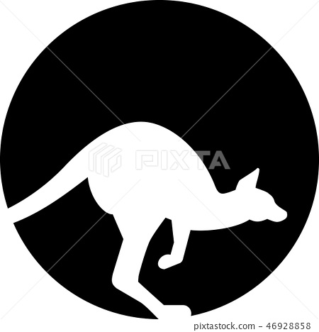 Kangaroo silhouette in front of moon 46928858