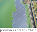 aerial view of Floating solar panels  on the lake 46929415