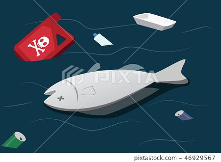 Water pollution make dead fish, vector 46929567