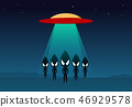 Group of alien arrived on earth by UFO, vector art 46929578