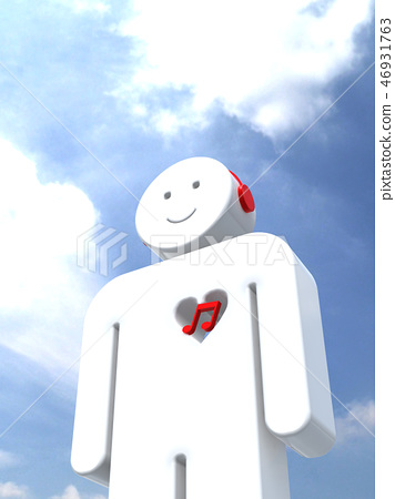 CG 3D illustration 3D design icon mark people music heart touching musical note sky 46931763