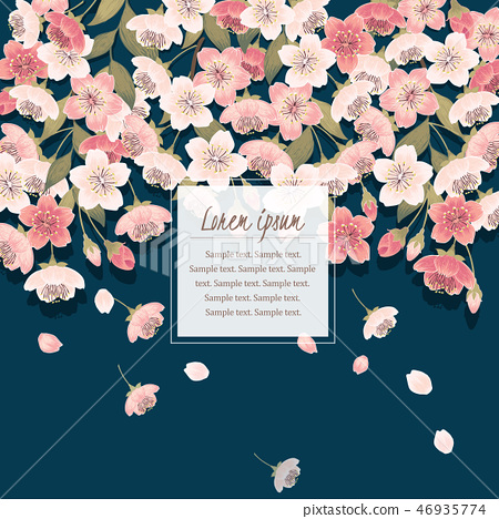 Vector illustration of cherry tree in spring	 46935774