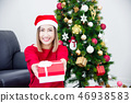 woman holding christmas gift box and smile 46938583