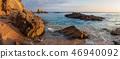 Rocky beach in Mallorca at sunrise. Spain seascape 46940092