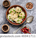 Ukrainian pelmeni on plate 46941711