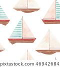 Watercolor marine vector pattern 46942684
