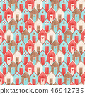 Watercolor vector house pattern 46942735