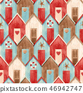 Watercolor vector house pattern 46942747