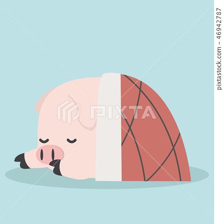 Cute Sleeping little Pig in blanket 46942787