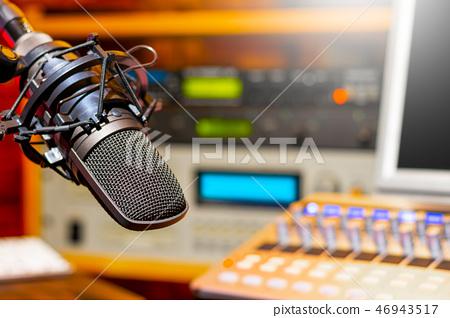 microphone in radio broadcasting, podcast studio 46943517