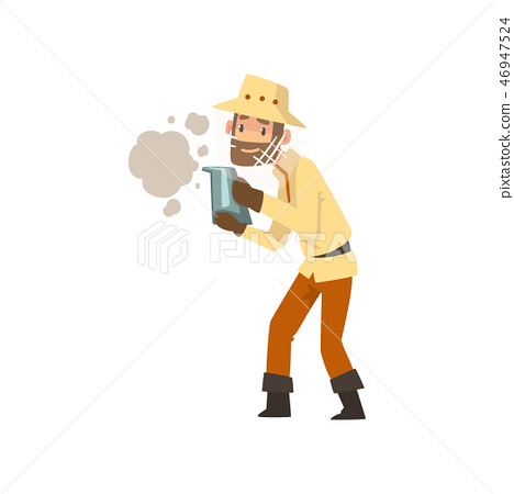 Beekeeper man with smoker, apiculture and beekeeping concept vector Illustration 46947524