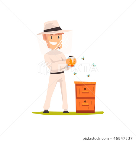 Beekeeper man with a jar of honey, apiculture and beekeeping concept vector Illustration 46947537