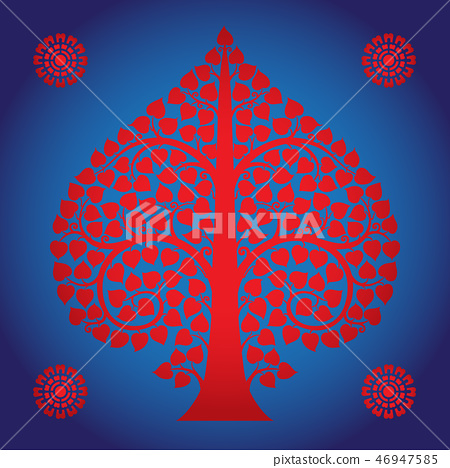Thai Art Bodhi Tree on Blue Background 46947585