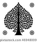 Thai Art Bodhi Tree on White Background 46948009