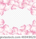 Falling red rose petals isolated on white background. Vector illustration 46949620
