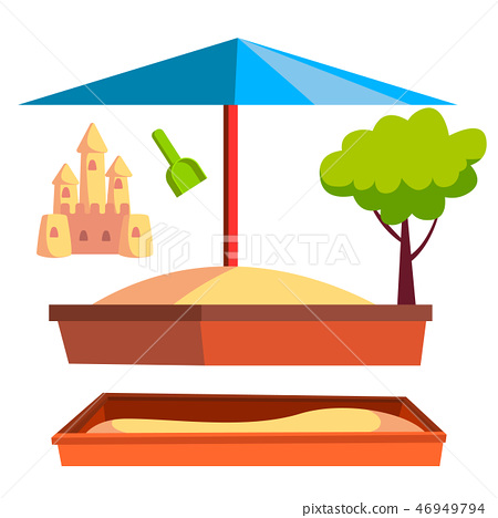 Sandbox Vector. Recreation Activity. Child Playground. Sandcastle. Isolated Flat Cartoon 46949794