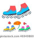 Roller Skates Vector. Modern Children Outdoor Activity. Isolated Flat Cartoon Illustration 46949860