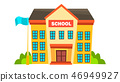 School Building Vector. Modern City University. Fasade Exterior. Brick. Isolated Flat Cartoon 46949927