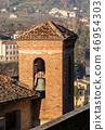 Old bell tower made of bricks Barga Tuscany Italy 46954303