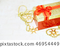 Top view color gift box with ribbon on white wooden plank background 46954449