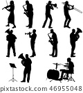 Set silhouette of musician playing the trombone 46955048