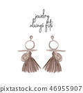 Beautiful earring stylish tepography poster. Modern hand drawn accessories with text slogan. Vector 46955907