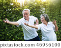 Asian Couple practicing Tai Chi in the park 46956100