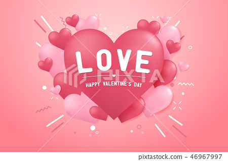 Happy valentines day with heart balloon shape. 46967997