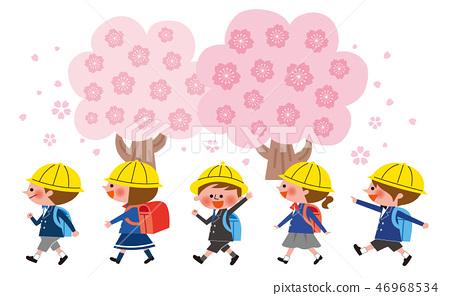 가방을 짊어진 아이들과 벚꽃 46968534