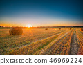 Rural Landscape Field Meadow With Hay Bales During Harvest In Su 46969224