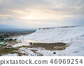 Sunset at Pamukkale cotton castle in Turkey 46969254