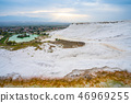 Panoramic view of travertine terraces at Pamukkale 46969255