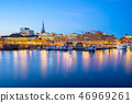 Stockholm port city skyline at night in Sweden 46969261