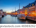 Copenhagen city at night with view of Nyhavn 46969262