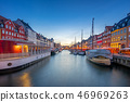 Panorama view of Nyhavn landmark in Copenhagen 46969263