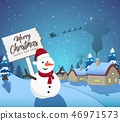 Happy New Year Merry Christmas 2019 with snowman  46971573