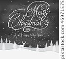 Christmas black background with snow and house  46971575
