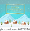 Vector illustration of Winter night landscape with 46971576